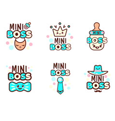 Cute kawaii emoticons with baby boy objects vector