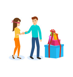 Male leads girl to the side large boxes of gifts vector