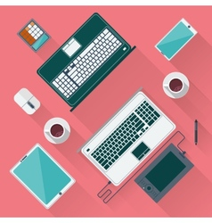 Office desk with laptop tablet smartphone vector image