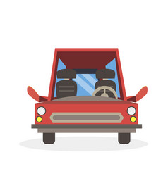 car cartoon red side view isolated road vehicle vector image vector image