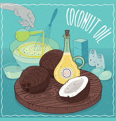 coconut oil used for cooking vector image