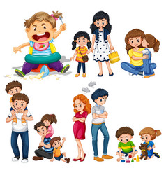 family members with parents and kids vector image vector image