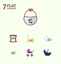 flat baby set of children scales infant cot vector image vector image