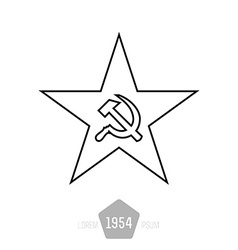 minimal monochrome star with socialist symbols vector image