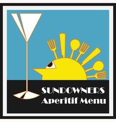 Sundowners Aperitifs Menu vector image