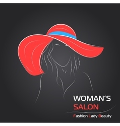 Woman in red hat on black bg vector