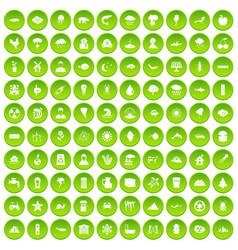 100 earth icons set green circle vector