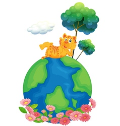 A tiger at the top of a globe vector image