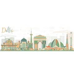 Abstract Delhi Skyline with Color Buildings vector