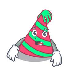 Afraid party hat mascot cartoon vector