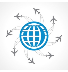 Airplanes flying around the world vector image