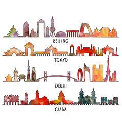 beijing tokyo new delhi cuba triangular design vector image