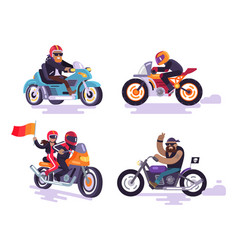 Bikers ride modern motorbikes set motorized bikes vector