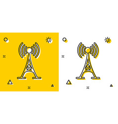 black antenna icon isolated on yellow and white vector image