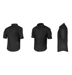 black shirt with short sleeves mockup vector image