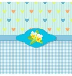 Blue Greeting Card with Pansies vector image