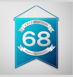 blue pennant with inscription sixty eight years vector image