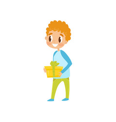 boy with gift box going to party birthday party vector image