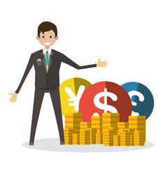 businessman with coins flat character human vector image
