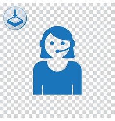 Call center woman with headset icon for web vector