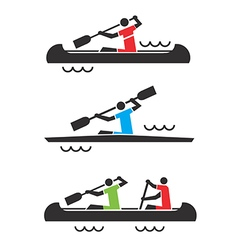 Canoe kayak icons vector