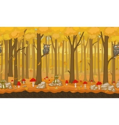Cartoon autumn seamless forest background vector image