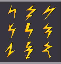 cartoon lightning set vector image