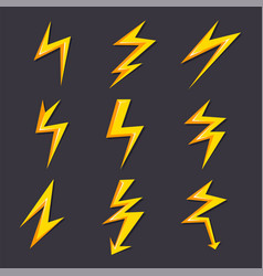 Cartoon of lightning set vector