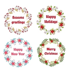 Christmas and New Year wreath set with vector
