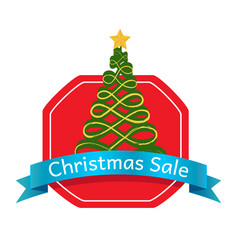 christmas sale abstract tree logo topped by star vector image