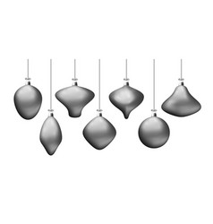 christmas silver balls isolated on white vector image