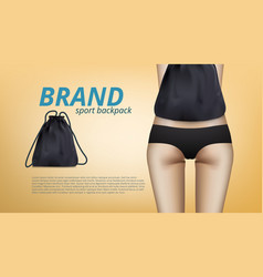 Close up slim female body with sport backpack bag vector