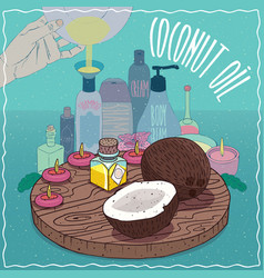 Coconut oil used for cosmetics making vector