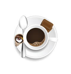Coffe cup with cream and cookies vector