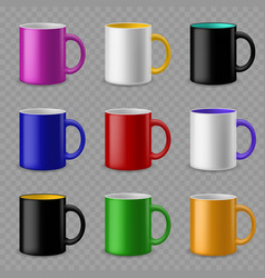 color cups ceramic colorful cup template vector image