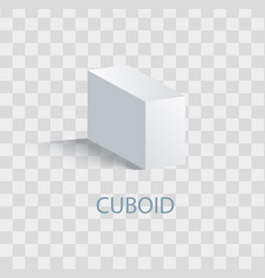 Cuboid white geometric figure that casts shade vector