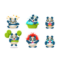 cute funny pandas characters set adorable vector image