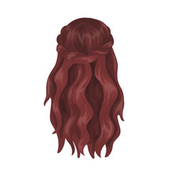 Dark loose hair behindback hairstyle single icon vector