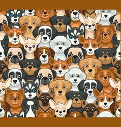 dog seamless pattern cute cartoon style vector image
