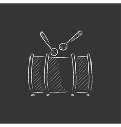 Drum with sticks Drawn in chalk icon vector image