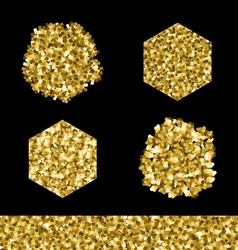 Editable brush set Golden glitter vector image