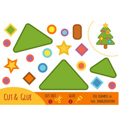 education paper game for children christmas tree vector image