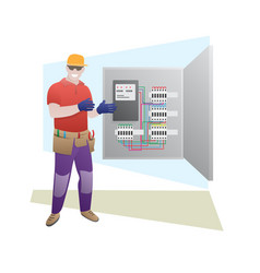 Electrician shows and talks about electrical vector