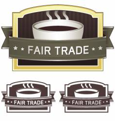 fair trade coffee label vector image