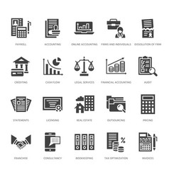 Financial accounting flat glyph icons bookkeeping vector