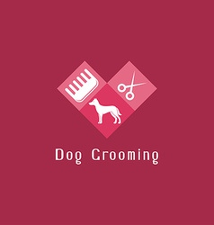 Flat pet grooming logo with dog vector image