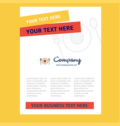 food title page design for company profile annual vector image