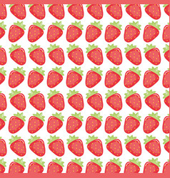 fresh strawberries fruits pattern background vector image