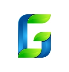 G letter leaves eco logo volume icon vector image