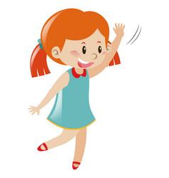 Girl in blue dress waving hello vector